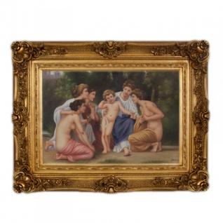 Handgemaltes Barock Öl Gemälde Familien Engel Bildniss 2 Gold Prunk Rahmen 130 x 100 x 10 cm - Massives Material