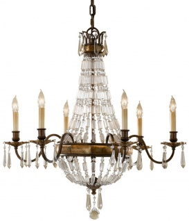 Casa Padrino Barock Kronleuchter mit Kristallglas Bronze Ø 68, 6 x H. 74 cm - Prunkvoller Kronleuchter im Barockstil - Edel & Prunkvoll