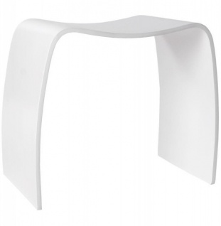 Casa Padrino Designer Hocker Holz Weiß Wave - Lounge Möbel