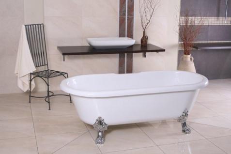 Freistehende Luxus Badewanne Jugendstil Milano Weiß/Silber - Barock Badezimmer - Vorschau 3