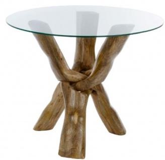 Casa Padrino Luxus Glastisch Braun Ø 90 x H. 73 cm - Dreibeiniger Runder Tisch