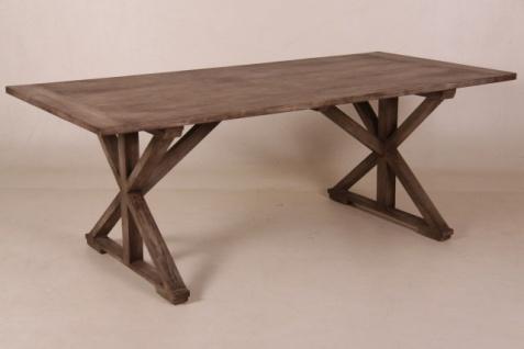 Casa Padrino Vintage Teak Esstisch Rustic Grey 170 x 95 cm - Landhaus Stil Tisch Teakholz