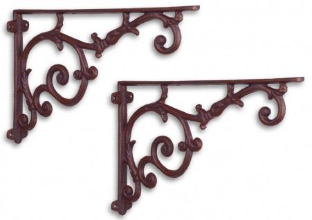 Casa Padrino Jugendstil Wandhalter Set Antik Rotbraun 30, 4 x H. 19, 3 cm - Barock & Jugendstil Wanddeko Accessoires