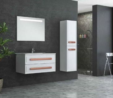Casa Padrino Luxus Badezimmer Set Weiß / Bronze - 1 Waschtisch und 1 Waschbecken und 1 LED Wandspiegel und 1 Hängeschrank - Luxus Badezimmermöbel - Vorschau 2