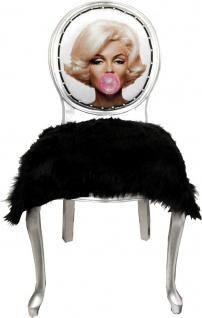 Casa Padrino Luxus Barock Esszimmer Set Marilyn Monroe Bubble Gum Crazy Schwarz / Mehrfarbig / Silber 50 x 60 x H. 104 cm - 4 handgefertigte Esszimmerstühle mit Kunstfell und Bling Bling Glitzersteinen - Vorschau 2