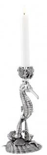 Casa Padrino Designer Kerzenständer Seepferdchen & Muscheln Antik Silber 15 x 12, 5 x H. 26, 5 cm - Luxus Messing Kerzenhalter - Vorschau 3
