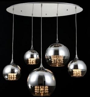 Casa Padrino Hängeleuchte Silber Ø 91 x H. 95 cm - Hängelampe mit runden Lampenschirmen und feinsten Kristall Behängen - Vorschau 3