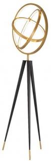 Casa Padrino Designer LED Stehleuchte Antik Messing / Schwarz Ø 70 x H. 205 cm - Moderne Dreibein Stehlampe - Wohnzimmer Lampe - Luxus Qualität