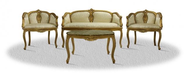Casa Padrino Antik Stil Salon Set mit Tisch Sitzbank und 2 Stühlen - Barock Möbel