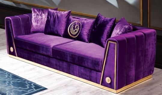 Casa Padrino Luxus Couch Lila / Gold 260 x 90 x H. 76 cm - Edles Wohnzimmer Sofa mit dekorativen Kissen - Luxus Möbel