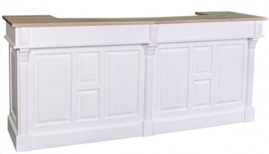 Casa Padrino Landhausstil Theke Weiß / Naturfarben 240 x 65 x H. 107 cm - Massivholz Ladentheke mit 2 Schubladen - Landhausstil Möbel