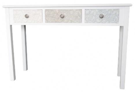 Casa Padrino Landhausstil Konsole Weiß / Mehrfarbig 120 x 40 x H. 78 cm - Handgefertigter Landhausstil Konsolentisch mit 3 Schubladen