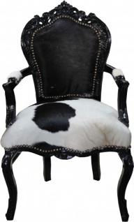 Casa Padrino Barock Esszimmer Stuhl Kuhfell / Schwarz mit Armlehnen - Echtes Kuh Fell