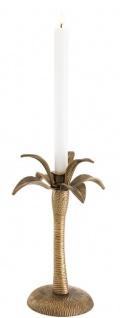 Casa Padrino Luxus Kerzenhalter Vintage Messingfarben Ø 20 x H. 30 cm - Messing Kerzenständer im Palmen Design