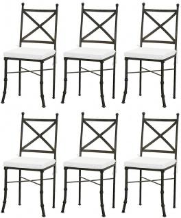 Casa Padrino Luxus Jugendstil Gartenstuhl Set mit Sitzkissen Schwarz / Weiß 40 x 44 x H. 99 cm - Handgeschmiedete Esszimmer Stühle - Esszimmer Garten Terrassen Möbel