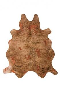 Casa Padrino Designer Kuhfell Teppich Vintage Look Terra - Handgefertigt - Möbel Fell Teppich