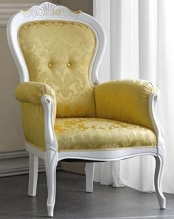 Casa Padrino Luxus Barock Wohnzimmer Sessel mit elegantem Muster Gold / Weiß / Gold 70 x 65 x H. 106 cm - Edle Barock Möbel