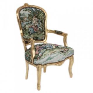 Casa Padrino Barock Salon Stuhl Gobelin / Gold - Vorschau 2