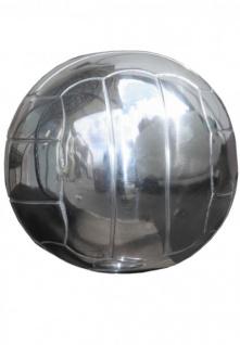 Casa Padrino Fußball Skulptur auf Sockel aus poliertem Aluminium Silber Deko Fußball Art Deco Dekoration Ball Figur - Vorschau 3