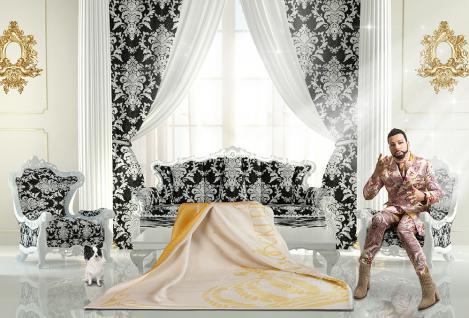 Harald Glööckler Designer Wohndecke 150 x 200 cm Queen Creme / Gold + Casa Padrino Barock Bilderrahmen - Schlafzimmer Wohnzimmer Decke Kuscheldecke