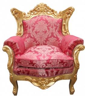 Casa Padrino Barock Wohnzimmer Set Bordeaux Muster/Gold - 3er Sofa+2er Sofa + 1 Sessel - Vorschau 4