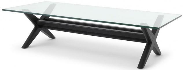 Casa Padrino Luxus Couchtisch Schwarz 160 x 80 x H. 40, 5 cm - Rechteckiger Massivholz Wohnzimmertisch mit Glasplatte - Luxus Wohnzimmer Möbel