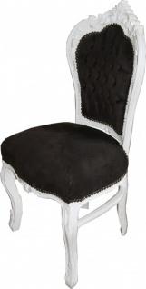 Casa Padrino Barock Esszimmer Stuhl Schwarz / Weiß - Möbel Antik Stil - Vorschau 2