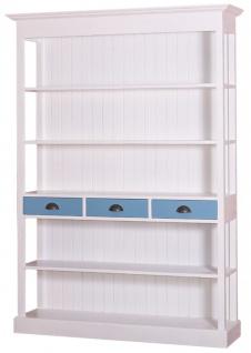 Casa Padrino Landhausstil Regalschrank Weiß / Blau 140 x 39 x H. 197 cm - Landhausstil Schrank mit 3 Schubladen
