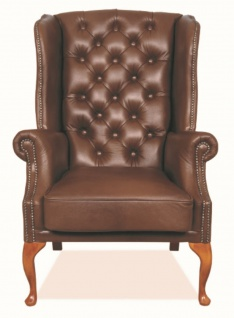 Casa Padrino Chesterfield Echtleder Ohrensessel Braun 80 x 80 x H. 110 cm - Luxus Sessel