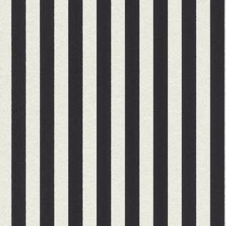 Casa Padrino Barock Textiltapete Schwarz / Weiß 10, 05 x 0, 53 m - Barock Tapete mit Streifen