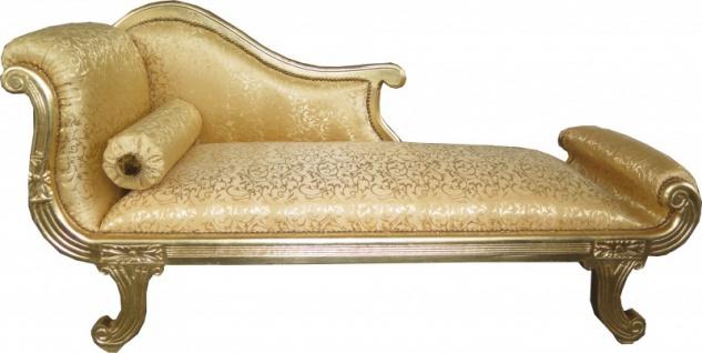Casa Padrino Barock Chaiselongue Modell XXL Gold Muster / Gold- Antik Stil - Recamiere Wohnzimmer Möbel