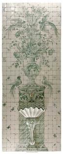Casa Padrino Luxus Barock Wandbrunnen mit Fliesen Wandgemälde Weiß / Grün - Handgefertigt & Handbemalt - Luxus Qualität - Barock Hotel Garten Deko Accessoires