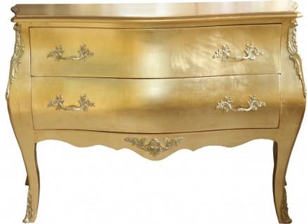 Casa Padrino Barock Kommode Gold mit 2 Schubladen 124 cm - Handgefertigt aus Massivholz - Limited Edition
