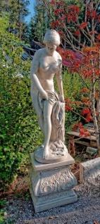 Casa Padrino Jugendstil Gartendeko Skulptur mit Sockel Grau H. 163 cm - Garten Deko Figur - Garten & Terrassen Deko Accessoires