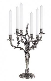 Casa Padrino Barock Luxus Kerzenständer massiv versilbert mit 6 Armen