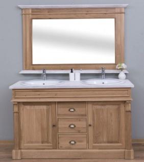 Casa Padrino Landhausstil Badezimmer Set Braun / Weiß - 1 Doppelwaschtisch & 2 Waschbecken & 2 Wasserhähne & 1 Wandspiegel - Massivholz Badezimmermöbel im Landhausstil