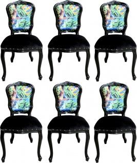 Casa Padrino Luxus Barock Esszimmer Set Comic Mehrfarbig / Schwarz 55 x 54 x H. 103 cm - 6 handgefertigte Esszimmerstühle - Designer Stühle - Barock Esszimmermöbel