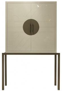 Casa Padrino Designer Barschrank Creme / Messing 120 x 40 x H. 190 cm - Edler Weinschrank mit hochwertigen Keramikfliesen - Bar Möbel - Hotel Möbel - Luxus Qualität