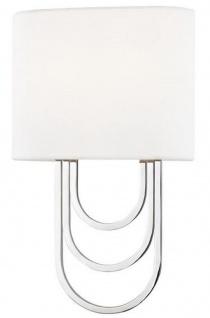 Casa Padrino Luxus Wandleuchte Silber / Weiß 20, 3 x 9, 5 x H. 34, 3 cm - Designer Wandlampe mit Lampenschirm