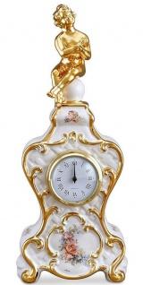 Casa Padrino Barock Tischuhr Weiß / Gold / Mehrfarbig 17 x 12 x H. 40 cm - Barock Deko Accessoires