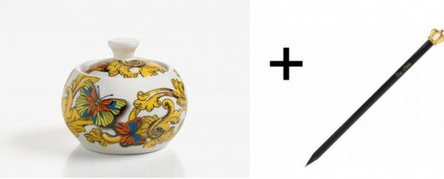 Harald Glööckler Porzellan Zuckerdose + Luxus Bleistift von Casa Padrino - Barock Dekoration