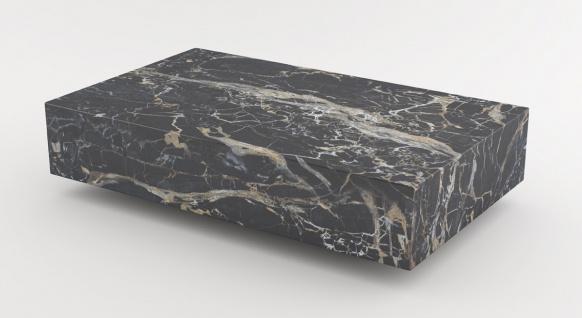 Casa Padrino Luxus Marmor Couchtisch Schwarz 140 x 80 x H. 32 cm - Rechteckiger Wohnzimmertisch aus hochwertigem spanischen Emperador Marmor - Luxus Möbel