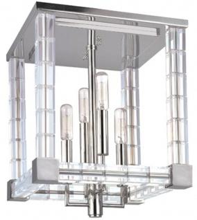 Casa Padrino Designer Deckenleuchte Silber / Antik Messing 29 x 29 x H. 36 cm - Moderne Kristallglas Deckenlampe - Luxus Lampen