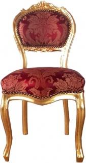 Casa Padrino Barock Damen Stuhl Bordeauxrot Muster / Gold 40 x 44 x H. 83 cm - Handgefertigter Schminktisch Stuhl mit edlem Satinstoff - Barock Möbel