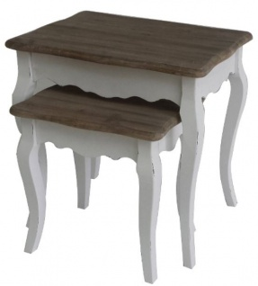 Casa Padrino Landhausstil Beistelltisch 2er Set Antik Weiß / Dunkelbraun - Handgefertigte Landhausstil Möbel