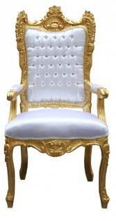 Casa Padrino Barock Thron Sessel Weiß/ Gold - Unikat - Königssessel- Hochzeitssessel