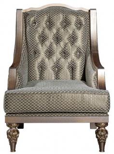 Casa Padrino Luxus Barock Wohnzimmer Sessel Grün / Silber / Kupfer / Gold 70 x 70 x H. 102 cm - Barock Wohnzimmer Möbel