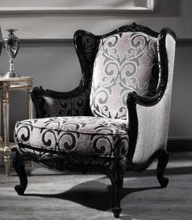 Casa Padrino Luxus Barock Ohrensessel Silber / Schwarz 77 x 85 x H. 110 cm - Wohnzimmer Sessel mit edlem Muster - Barock Möbel
