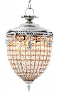 Casa Padrino Luxus Kronleuchter - Luxus Hängeleuchte Nickel Durchmesser 29 x H 58 cm