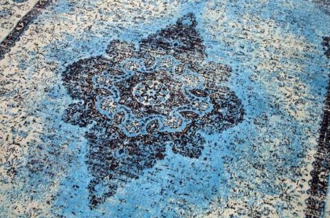 Casa Padrino Vintage Wohnzimmer Teppich Blau 160 x 240 cm - Rechteckiger Baumwoll Teppich - Wohnzimmer Deko Accessoires - Vorschau 3
